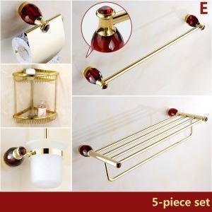 バスアクセサリーセット 浴室用品 真鍮&クリスタル製 TI-PVD