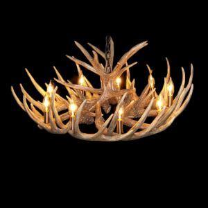 鹿角シャンデリア ペンダントライト 鹿角照明 リビング/店舗照明 樹脂製 9灯 茶褐色 LED電球付 ALWHA12L9N1L