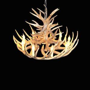 鹿角シャンデリア ペンダントライト 鹿角照明 リビング/店舗照明 樹脂製 9灯 茶褐色 LED対応