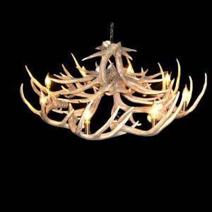 鹿角シャンデリア ペンダントライト 鹿角照明 リビング/店舗照明 樹脂製 8灯 茶褐色 LED対応