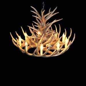 鹿角シャンデリア ペンダントライト 鹿角照明 リビング/店舗照明 樹脂製 9灯 茶褐色 LED電球付 ALWHA18L9N1L