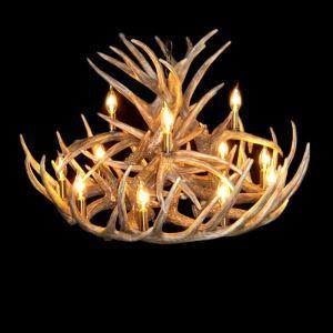 鹿角シャンデリア ペンダントライト 鹿角照明 リビング/店舗照明 樹脂製 12灯 茶褐色 LED電球付 ALWHA18L12N1L