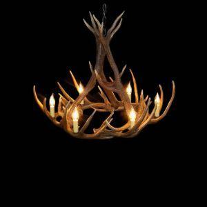鹿角シャンデリア ペンダントライト 鹿角照明 リビング/店舗照明 樹脂製 6灯 茶褐色 LED電球付 AL MIA9L6N1