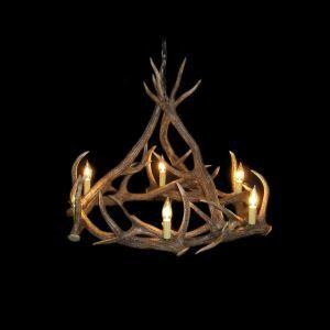 鹿角シャンデリア ペンダントライト 鹿角照明 リビング/店舗照明 樹脂製 6灯 茶褐色 LED電球付 AL SPA9L6N1