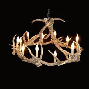 鹿角シャンデリア 天井照明 ペンダントライト 鹿角照明 樹脂 12灯 茶褐色