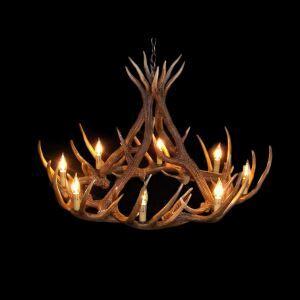 鹿角シャンデリア ペンダントライト 鹿角照明 リビング/店舗照明 樹脂製 8灯 茶褐色 LED電球付 AL MIA12L8N2
