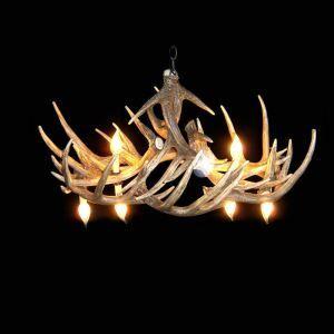 鹿角シャンデリア ペンダントライト 鹿角照明 リビング照明 店舗照明 樹脂製 6灯 茶褐色 LED電球付 WHA10L6N1