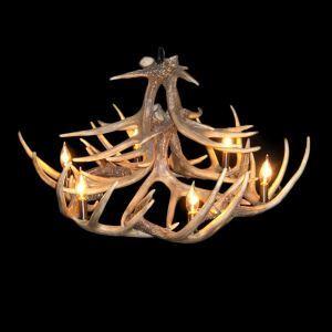 鹿角シャンデリア ペンダントライト 鹿角照明 リビング/店舗照明 樹脂製 6灯 茶褐色 LED電球付 AL WHA12L6N1