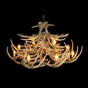 鹿角シャンデリア ペンダントライト 鹿角照明 リビング/店舗照明 樹脂製 12灯 茶褐色 LED電球付 AL WHA20L12N1