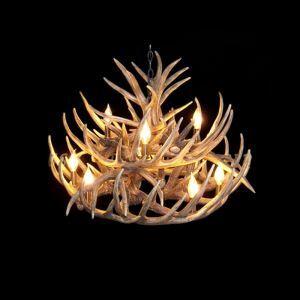 鹿角シャンデリア 天井照明 ペンダントライト 鹿角照明 樹脂 9灯 茶褐色