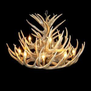 鹿角シャンデリア ペンダントライト 鹿角照明 リビング/店舗照明 樹脂製 12灯 茶褐色 LED対応