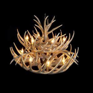 鹿角シャンデリア ペンダントライト 照明器具 リビング 寝室 店舗 樹脂製 15灯 茶褐色 LED電球付