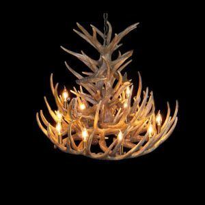 鹿角シャンデリア ペンダントライト 鹿角照明 リビング/店舗照明 樹脂製 12灯 茶褐色 LED電球付 AL WHA24L12N1