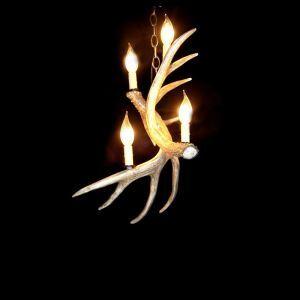 鹿角シャンデリア ペンダントライト 照明器具 リビング 寝室 店舗 樹脂製 4灯 茶褐色 LED電球付