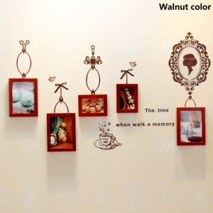 壁掛けフォトフレーム 写真用額縁 フォトデコレーション 木製 5個セット 複数枚