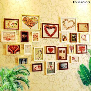 壁掛けフォトフレーム 写真用額縁 フォトデコレーション 木製 23個セット 複数枚