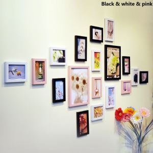 壁掛けフォトフレーム 写真用額縁 フォトデコレーション 木製 18個セット 複数枚