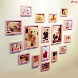 壁掛けフォトフレーム 写真用額縁 フォトデコレーション 木製 北欧風 17個セット 複数枚