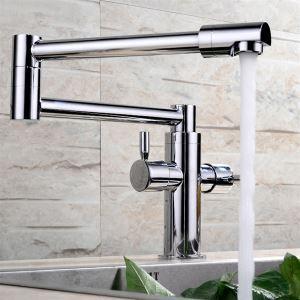キッチン蛇口 台所蛇口 2ハンドル混合水栓 水道蛇口 真鍮製 クロム