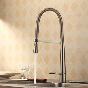 キッチン蛇口 台所蛇口 冷熱混合栓 回転可能 ヘアライン