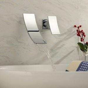 壁付水栓 洗面蛇口 バス水栓 冷熱混合栓 水道蛇口 シングルレバー クロム