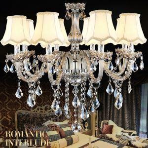 シャンデリア リビング照明 照明器具 ダイニング照明 店舗 寝室 シェード付 オシャレ クリスタル 8灯 LED電球対応 LT525319
