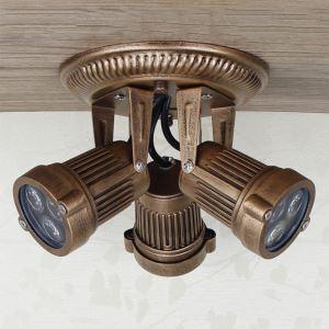 LEDスポットライト LEDシーリングライト 玄関照明 店舗照明 レトロな照明器具 円形 3灯 FMS149