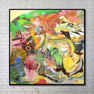 プリント絵画 抽象絵画 アートプリント フレームなし 30*30inch FAxdart45