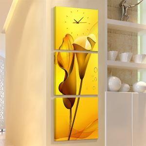 壁掛け時計 壁絵画時計 静音時計 壁飾り オシャレ 3枚パネル ゴールド・オランダカイウ