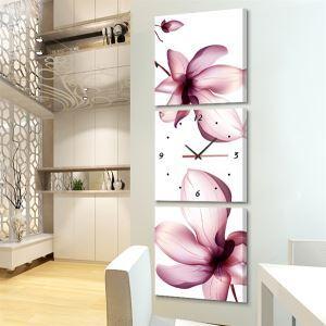 壁掛け時計 壁絵画時計 静音時計 キャンバス時計 壁飾り オシャレ 3枚パネル 蓮