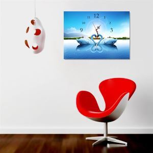 壁掛け時計 壁絵画時計 静音時計 壁飾り おしゃれ 1枚パネル スワン