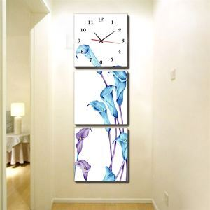 壁掛け時計 壁絵画時計 静音時計 壁飾り オシャレ 3枚パネル K02
