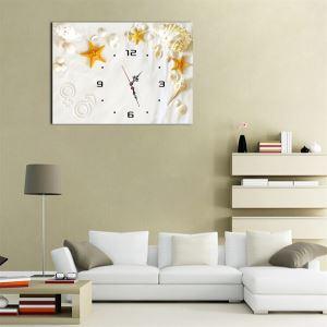 壁掛け時計 壁絵画時計 静音時計 1枚パネル starfish