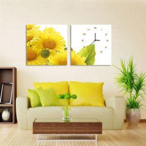 壁掛け時計 壁絵画時計 静音時計 壁飾り おしゃれ 2枚パネル ヒマワリ