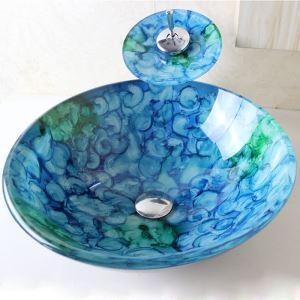 洗面ボウル&蛇口セット 手洗い鉢 洗面器 洗面ボール 排水金具付 オシャレ 泡柄 丸型 VT0698