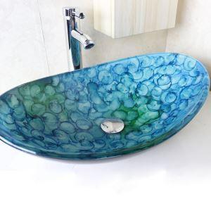 洗面ボウル 手洗い鉢 洗面器 洗面ボール 排水金具付 オシャレ 泡柄 楕円型 VT0699