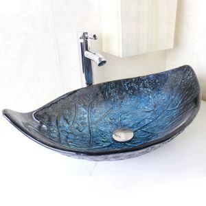 洗面ボウル 洗面器 手洗い鉢 洗面ボール 排水金具付 オシャレ 葉型 青色 VT0701