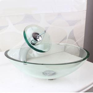 洗面ボウル&蛇口セット 手洗い鉢 洗面器 強化ガラス製 排水金具付 ハート型 透明 HAM011