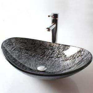 洗面ボール 手洗い鉢 洗面器 手洗器 洗面ボウル 洗面台 ガラス 排水金具付 オシャレ 楕円型 HAM016 翌日発送