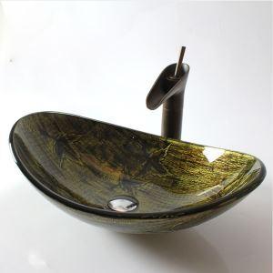洗面ボール 手洗鉢 洗面器 強化ガラス製 排水金具付 オシャレ 楕円型 HAM038