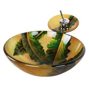 洗面ボウル&蛇口セット 手洗い鉢 洗面器 強化ガラス製 排水金具付 オシャレ 葉柄 HAM051