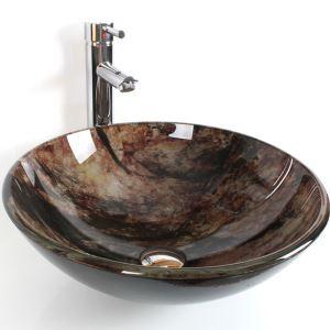洗面ボール 手洗い鉢 洗面器 手洗器 洗面ボウル 洗面台 ガラス 排水金具付 オシャレ HAM104