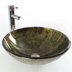 洗面ボール 手洗鉢 洗面器 強化ガラス製 排水金具付 オシャレ HAM112