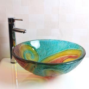 洗面ボール 手洗鉢 洗面器 強化ガラス製 排水金具付 オシャレ HAM122