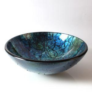洗面ボール 手洗鉢 洗面器 強化ガラス製 排水金具付 オシャレ HAM138