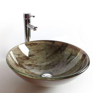 洗面ボール 手洗鉢 洗面器 強化ガラス製 排水金具付 オシャレ HAM139