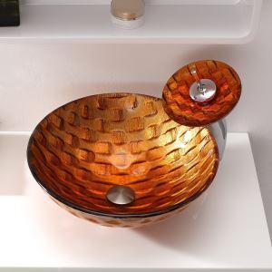 洗面ボウル&蛇口セット 手洗い鉢 洗面器 強化ガラス製 排水金具付 オシャレ HAM141
