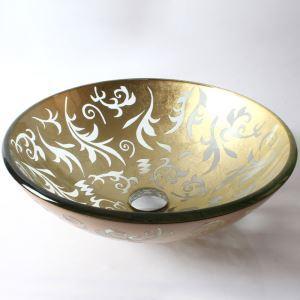 洗面ボール 手洗鉢 洗面器 強化ガラス製 排水金具付 オシャレ HAM151