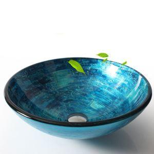 洗面ボール 手洗い鉢 洗面器 手洗器 洗面ボウル 洗面台 ガラス 排水金具付 オシャレ 青色 HAM152