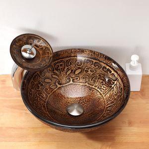 洗面ボウル&蛇口セット 手洗い鉢 洗面器 強化ガラス製 排水金具付 オシャレ 鼎柄 HAM020